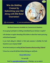 Read this document on Bank Guarantee issuance process to know how to get Bid Bond Guarantee on behalf of your company. Since we are extending our own bank facilities for the provision of Bid Bond Guarantee, we will not demand our clients to block their ca...