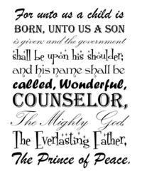 For unto us a child is born. Free printable.