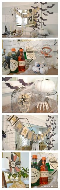 "While the kids were asleep, I had fun playing with my Halloween �€œmantle�€ �€"" aka: dining room console table. This year we reused a lot of things and added a few n"