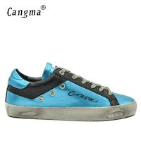 CANGMA Brand Sneakers Designer Casual Shoes Men Blue Black Spring Breathable Genuine Leather Male Leisure Shoes Uomo 34-48 $67.09