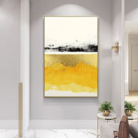Gold leaf Framed painting Abstract Acrylic mustard yellow Paintings on Canvas original art extra Large wall pictures $116.47