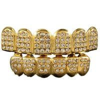 Gold Finish Crystals Studded Top & Bottom 6 Teeth Caps Grillz £27.54