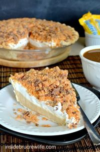 Peanut butter pie topped with crushed Butterfinger candy bars