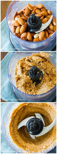 Exactly how I make Homemade Almond Butter. This stuff is so good, I make it practically every week. No added oils, sugars, or salt.
