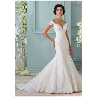 David Tutera for Mon Cheri 116201 - Aura - Mermaid Off the Shoulder Dropped Floor Chapel Lace Embroidery - Formal Bridesmaid Dresses 2018|Pretty Custom-made Dresses|Fantastic Wedding Dresses