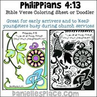 "Philippians 4:13 - ""I can do all things through Christ which strengtheneth me."" Coloring Sheet and Doodling sheet for Sunday School lesson about Amos from www.daniellesplace.com"