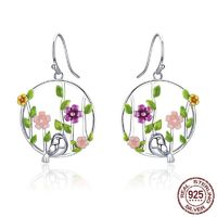 Genuine 925 Sterling Silver Blooming Forest Birds Secret Drop Earrings for Women Sterling Silver Earrings Jewelry $55.96