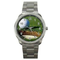 Golf w/ Hole and Ball on a Silver Metal Sports Watch .... Gift For Men $35.00