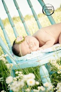 Beautiful photo, love the blue chair in a field of flowers..