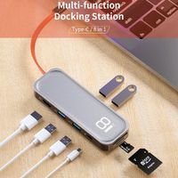 Rock 8 In 1 USB-C Hub Docking Station Adapter With 2 * USB 3.0/2 * USB 2.0/Type-C PD/4K HD Display/Memory Card Readers