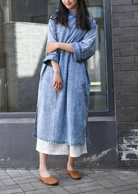 Denim dress, Light blue long sleeved robe, Cowboy Loose dress, Gown for women, Plus size dress, womens dress, Party dress