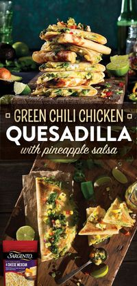 This quesadilla is full of flavor and then some. This crispy tortilla is packed with juicy shredded chicken that is mixed with a spicy chimichurri sauce to give your mouth a delightful kick. Then the chicken and chimichurri mixture is melted with Sargento...