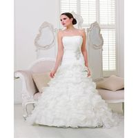Charming A-line Strapless Buttons Embroidery Sweep/Brush Train Organza Wedding Dresses - Dressesular.com