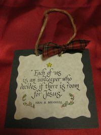"""This is an easy religious Christmas ornament craft you can make.    You can use this as an ornament, a door hanger, or a package topper.  You can make it any size, but the one above is 4""x4"" Materials: Mat board (the kind you frame ..."