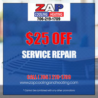 Get $25 Off on service repair.Contact ZAP Services Cooling and Heating at 706-219-1709 to grab the deal.