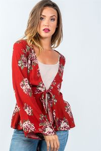 Floral Patterned Long Sleeve Front Knot Top $22.99