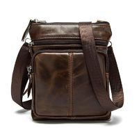 Leather shoulder bags Designer men Crossbody Bag natural Cowhide Vintage Small square Handbag $33.25