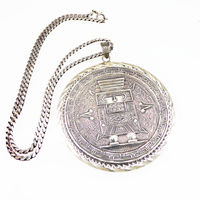 Huge Mexican Sterling Silver Pendant & Chain Necklace, Aztec Calender with Warrior or King Signed 925 w/ Assy Bell #85, Vintage 1960s 1970s $495.00