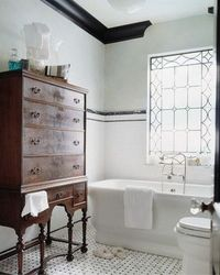 Why not mix up your traditional bathroom space with some reclaimed furniture? Creating a mix of the old and the new will result in a unique bathroom space.