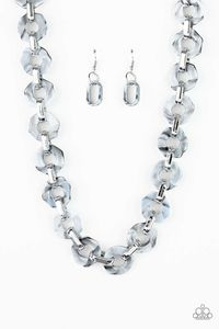 Paparazzi Fashionista Fever - Smoky Hexagon Acrylic Frame Silver Necklace $5.00