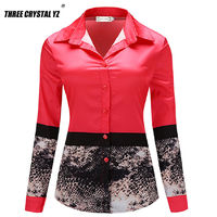 Three Crystal Yz Women Shirt New Fashion Office Red Shirt United Kingdom Casual Design Top Noble Charm Women Formal Blouse