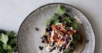BLACK BEAN TACOS WITH VEGGIE SLAW AND VEGAN CREMA || TENDING the TABLE