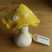 Soft yellow crochet toadstool - field and fores... - Folksy by Woolsmiths