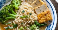 Miso noodle soup with vegetables and tofu in a bowl