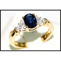 18K Yellow Gold Diamond Oval Blue Sapphire Solitaire Ring [RS0006]