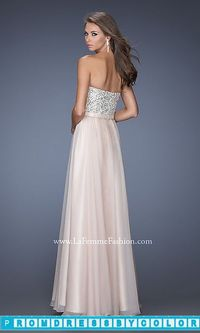 $173 Red Prom Dresses - Full Length Strapless La Femme Gown at www.promdressbycolor.com