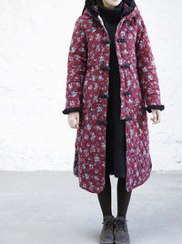 Winter long Floral padded Coat