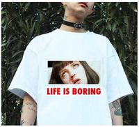 Spoof Harajuku White Female T-shirt 2017 T Summer Novelty Tee Shirt Femme Life is Boring Letters Print Women Tshirt $7.85