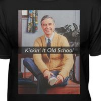 """NEW DESIGN! """"Mister Rogers Kickin' It Old School Men's Black Short Sleeve Premium Fitted T-shirt"""" Not available in stores. Be the first to get yours now, for just $20.95."""