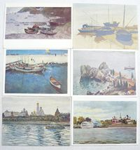 Set 6 Soviet Vintage Postcards Art Painting Marine Sea Ships Realism 50's $11.00