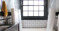 Black and white bathroom, subway tile w/dark grout