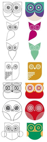 Owls seem to be really in right now, so if you're thinking about owl-based art, use these owls as a template!