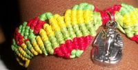 Handmade Extendable Waxed Cotton Cord Ribbon Rasta Macrame Bracelet With Tibetan Silver Pharaoh Charm £6.99