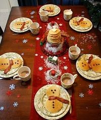 North Pole breakfast - pancake snowmen with bacon scarves and chocolate chip buttons!