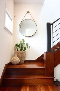 The staircase landing refers to the space at the top or at the bottom of the stairs. It can also be the space between flights of stairs, in the case of most sta