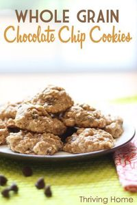 Healthy Whole Grain Chocolate Chip Cookies--A healthy twist on chocolate chip cookies. Kids still scarf them up and you can feel good about the healthy ingredients.