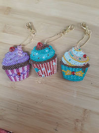 Cupcake Beaded Keychain- Sparkly Key Fob-Multicolored Keyring-Bag Pendant- Purse accessories- Beaded Trinket- Cute Bookbag Charms $8.00