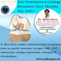 Dr Manu Bora Creates Customized plans to preserve joints by specific exercises, biologics, BMC, PRP, arthroscopic cartilage regeneration, transplant & chondroplasty https://www.orthosport.in/