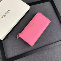 Prada 1M1183 Lettering Logo Saffiano Leather Wallet In Pink