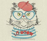Persian cat embroidery, cat design, persian cat embroidery design, embroidery designs, machine embroidery design, cat pattern, cats design $4.00