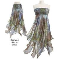 Gossamer Wings Dress Here's a dress as versatile as . . . A scarf! Shirred and elasticized at the top, it can be worn as a skirt or as a dress, falling in scarf-like folds that flow like gossamer wings. 100% polyester. Machine wash. Imported. Colo...