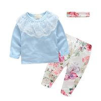 Popular 3Pcs Cute Newborn Kids Baby Girl Lace Top Floral Print Pants Headband Outfit Set $20.00