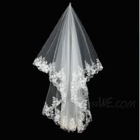 Graceful Elbow Wedding Veil With Lace Applique Edge