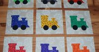 Set of 9 Bright Train Quilt Blocks *Free Shipping, $15.95