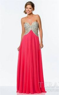Long Red Beaded Terani 151P0026 Evening Gowns