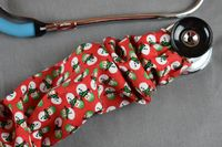 Stethoscope Cover- Christmas Snowman (Red Background) $7.99